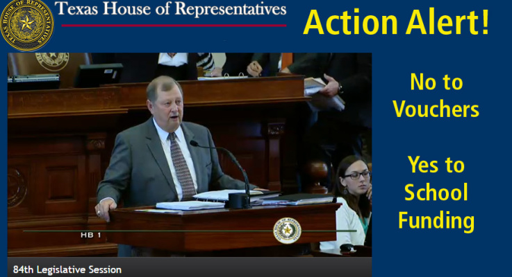 """Action Alert on State Budget! Tell reps """"No on Vouchers"""" … """"Yes on Funding"""""""