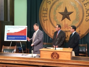 Texas AFT President Louis Malfaro with State Sen. Jose José Rodríguez and State Rep.César Blanco