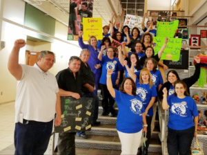Socorro AFT members celebrate their success at securing a 3 percent pay raise for all district employees.