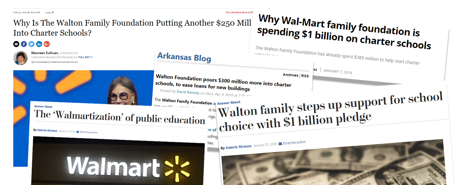 Newspaper stories on Walmart funding charters