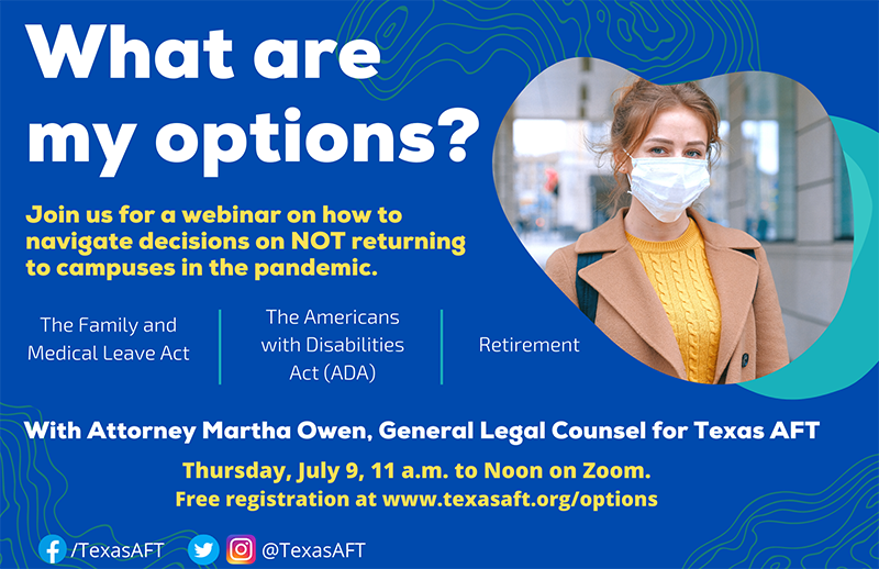 """What are my options"" title slide from webinar with Marth Owen, general legal counsel for Texas AFT"
