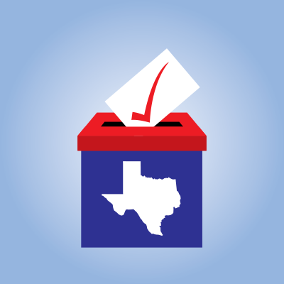 Ballot box illustration with Texas state outline.