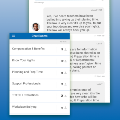 Screenshots of chat interactions in the Ask Texas AFT! app.
