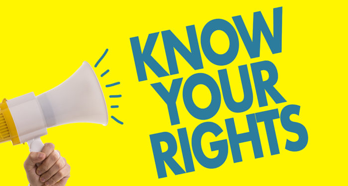 """""""Know Your Rights"""" with image of megaphone."""