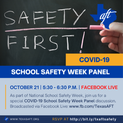 COVID-19 School Safety Week Panel. October 21, 5:30-6:30 p.m., Facebook Live.
