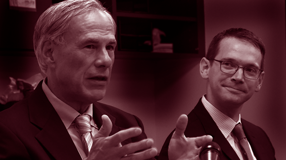 Photo of Governor Greg Abbott and T-E-A Commissioner Mike Morath