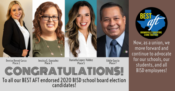 "Graphic with four images of endorsed candidates who won seats on the Brownsville school board. Texas says ""Congratulations to all our BEST A-F-T endorsed 2020 B-I-S-D school board election candidates. Now, as a union we move forward and continue to advocate for our schools, our students, and all B-I-S-D employees."""