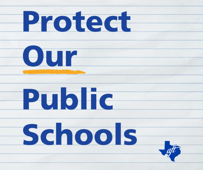 """Text says """"Protect Our Public Schools"""" with the word """"our"""" underlined."""