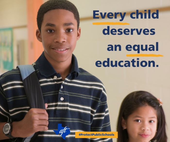 """Photo shows two students. Text says """"Every child deserves an equal education"""" with the words """"every"""" and """"equal"""" underlined."""