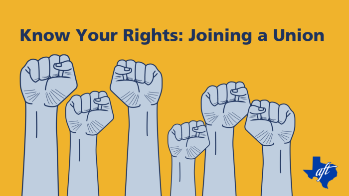 """Text says """"Know Your Rights: Joining a Union."""" Graphic shows six illustrated fists raised in solidarity."""