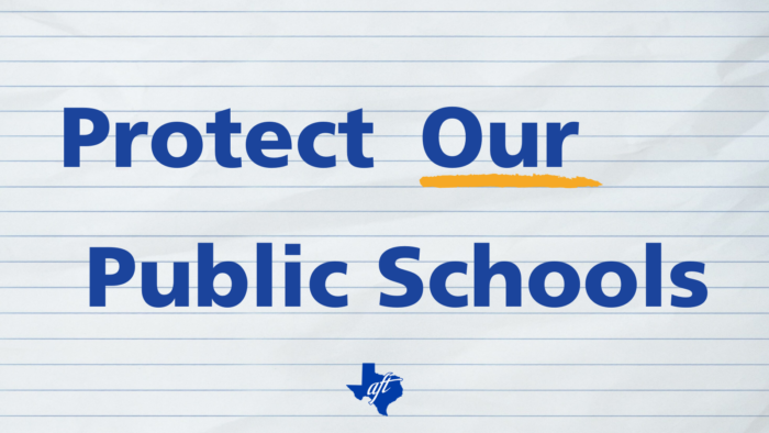 """Text says """"Protect Our Public Schools"""" with the word """"our"""" underlind."""