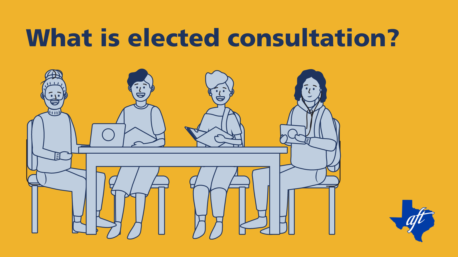 "Text says, ""What is elected consultation?"" Illustration shows four people seated at a table."