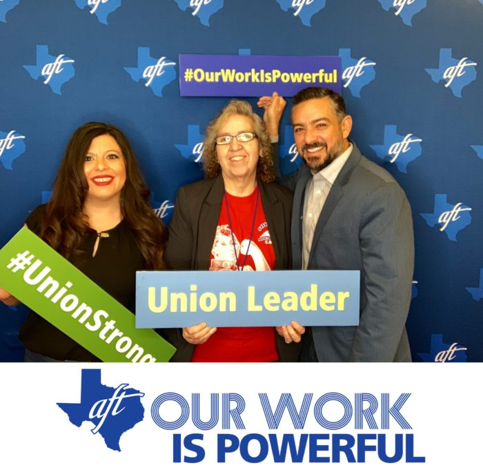 "Veronica Hernandez, Representative Mary Gonzalez, and Senator Cesar Blanco pose for a photo with signs that say ""Union Leader,"" ""Hashtag Union Strong,"" and ""Hashtag Our Work Is Powerful."""