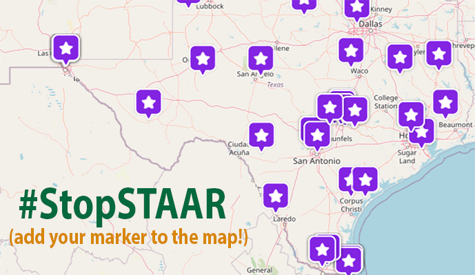 "Map of Texas with purple stars on certain locations. Text says, ""Hashtag Stop STAAR. Pin your marker to the map."""