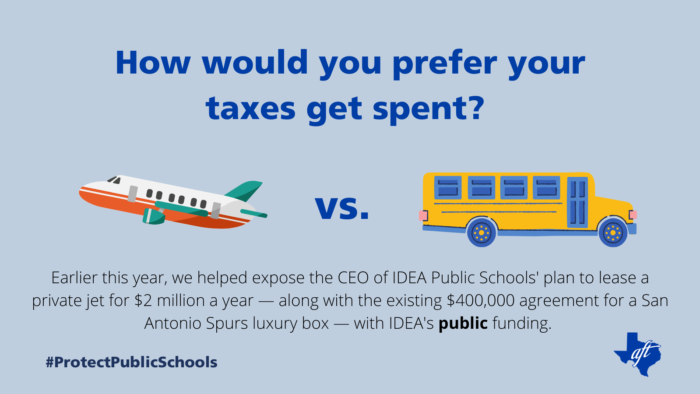 """Text says, """"How would you prefer your taxes get spent? Earlier this year, we helped expose the C-E-O of IDEA Public Schools' plan to lease a private jet for two million dollars a year — along with the existing four hundred thousand dollar agreement for a San Antonio Spurs luxury box — with IDEA's public funding."""
