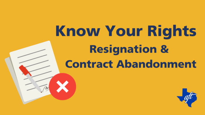 "Text says, ""Know Your Rights: Resignation and Contract Abandonment."""
