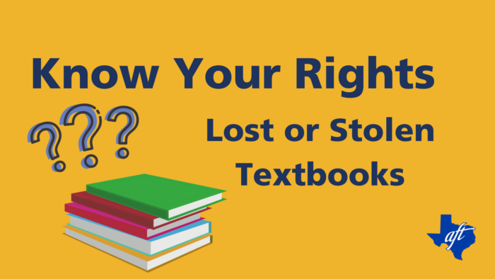 """Text says, """"Know Your Rights, Lost or Stolen Textbooks."""""""